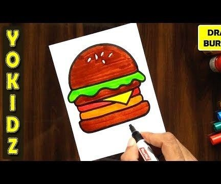 HOW TO DRAW BURGER EASY