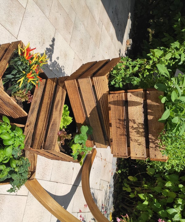 Mobile Vertical Raised Garden Bed Using Old Cases of Wine
