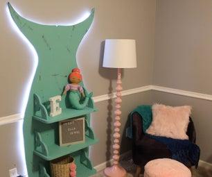 Mermaid Bookshelf With LED Night Light