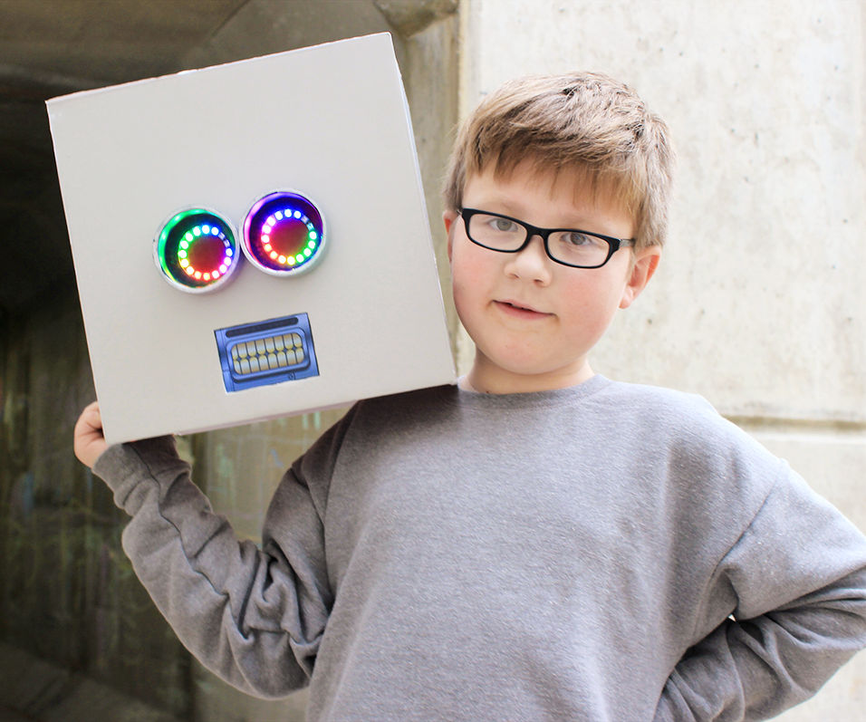 Robot Mask with Neopixel Eyes, iPhone Mouth, and Voice Changer