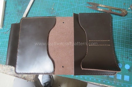 Sew Card Slot on Card Slot Back Leather, Only Sew Middle Stitching Lines.