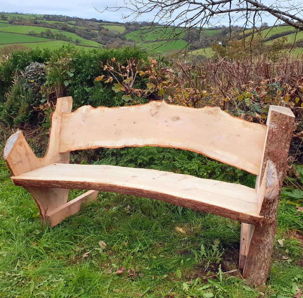 Rustic Garden Bench With Chainsaw