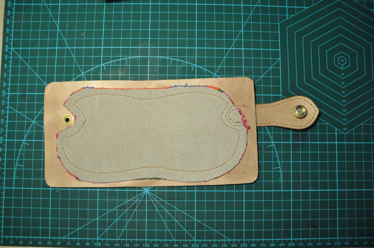 After Sew Left Part, You Can Go on to Pierce Marks and Punch Holes. You Can Add a Layer of Pig Skin As Lining for the Strap, Here I Didn't Do It.