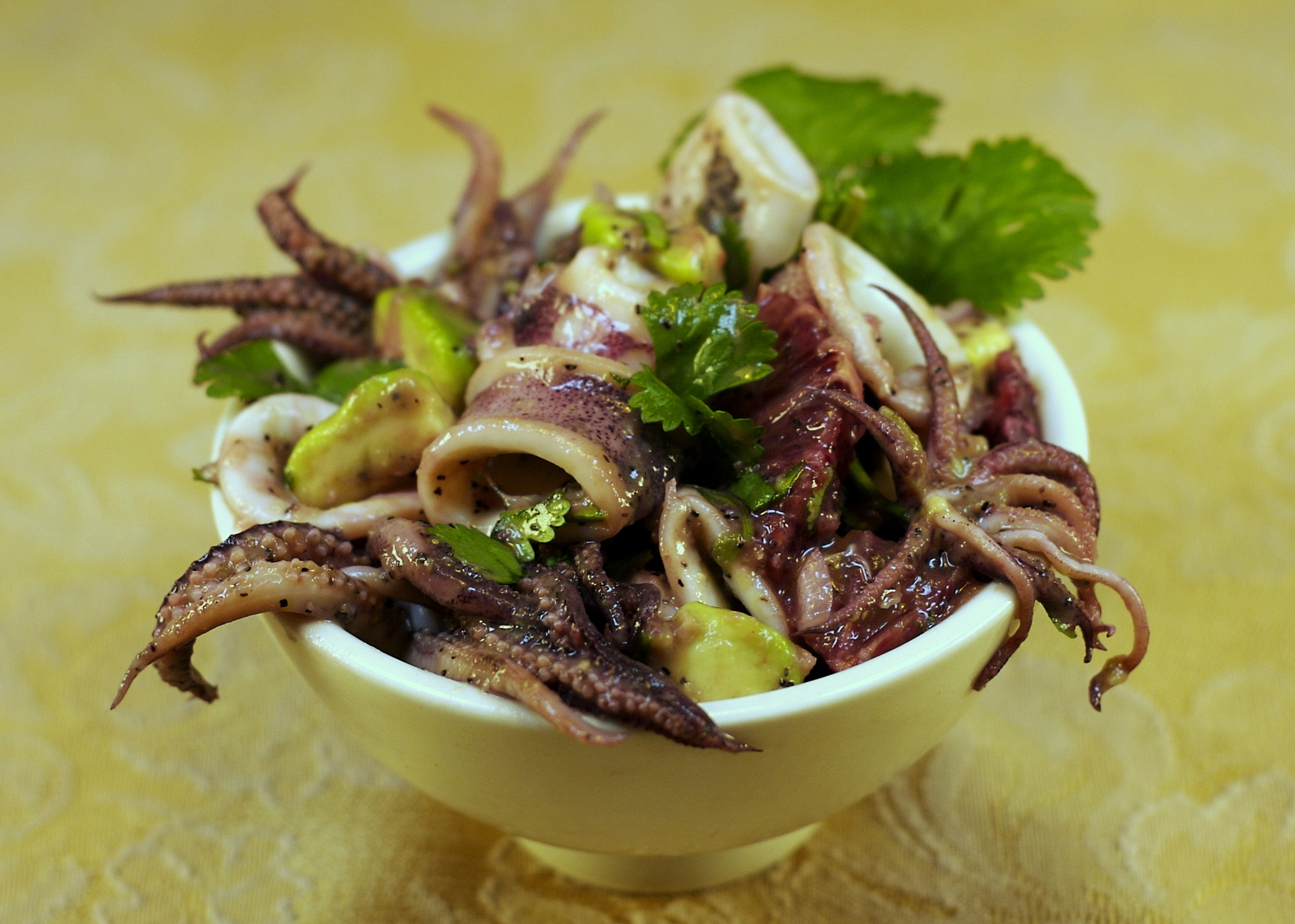 Squid Salad with Blood Orange and Avocado