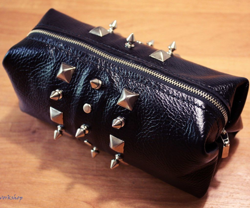 Leather Makeup Bag for Biker