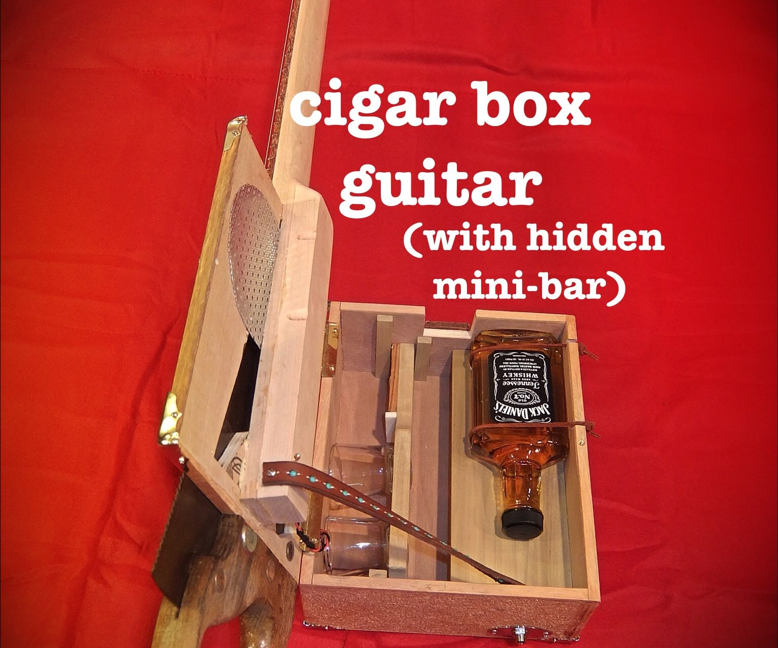 Cigar Box Guitar with Hidden Whiskey Mini-Bar