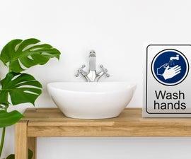 Laser Cut Hand Washing Sign