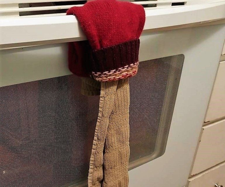 Towel Holder From a Sweater Sleeve