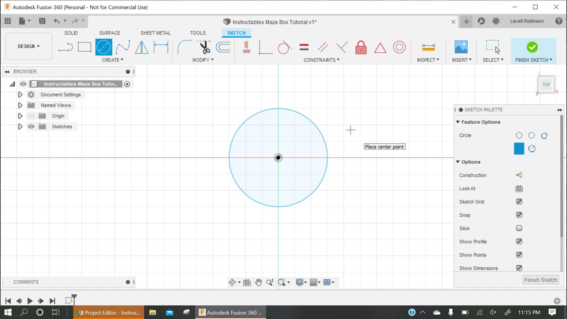 Sketch a Circle/cut the Circle.