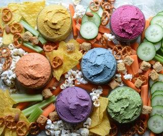 Rainbow Vegetable Hummus - Six Ways