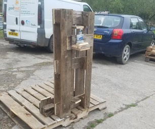 Pedal Operated Hand Sanitiser - With Basic Tools, Pallets, Screws and Zip Ties.