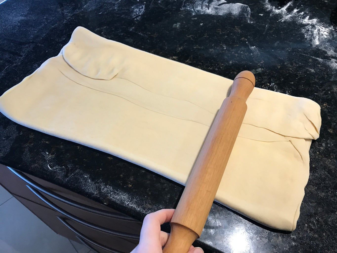 Make the 1st Fold in the Pastry Dough