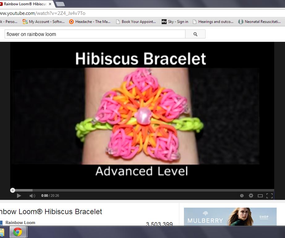 rainbow loom hibiscus braclet