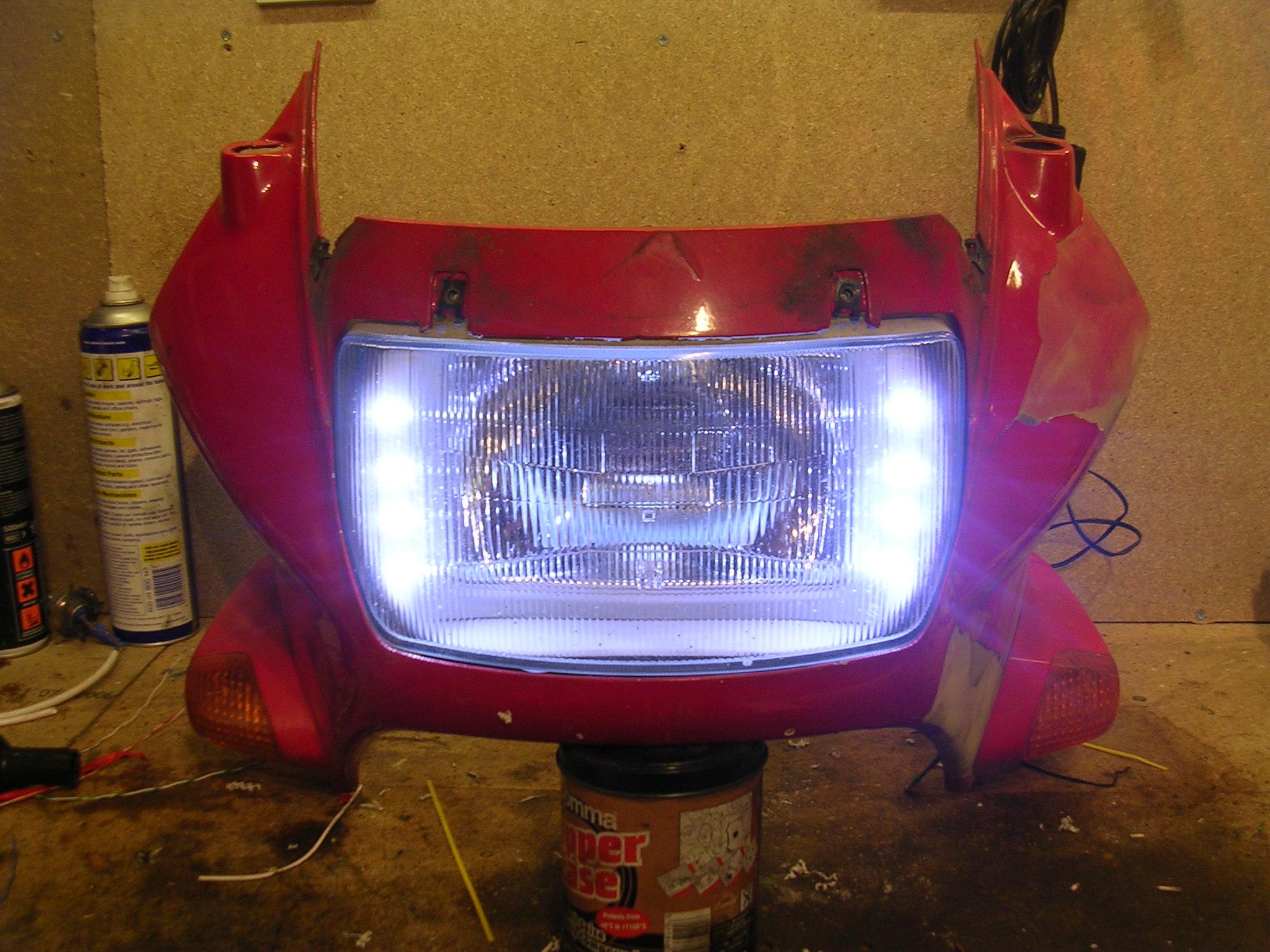 Motorbike headlight LED modification