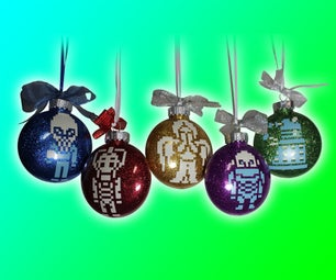Vinyl Doctor Who Glitter Christmas Ornaments With Double Bow