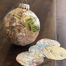 Recycled Map Ornament