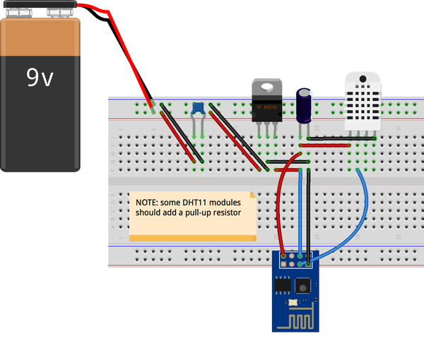 ESP8266 With DHT11 Temperature Humidity Monitor