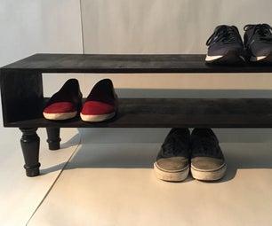 Antique-Inspired Modern Shoe Rack From a Headboard