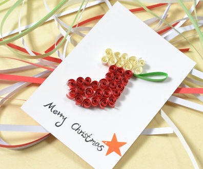 How to Make a Merry Christmas Card With Paper Quilling Stocking