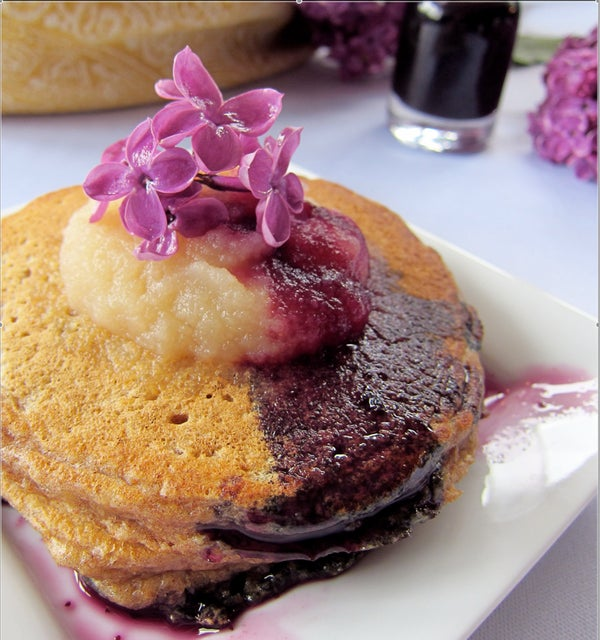 Overnight Pancakes With Lilac Infused Blueberry Syrup
