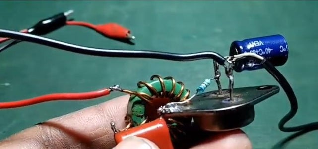 Connect the Other Terminal of the Inductor to the Red (positive Terminal) of the Wire Which Is Then Connected to the Positive Terminal of the Battery and Black Terminal to the Emitter (E) of the Transistor.