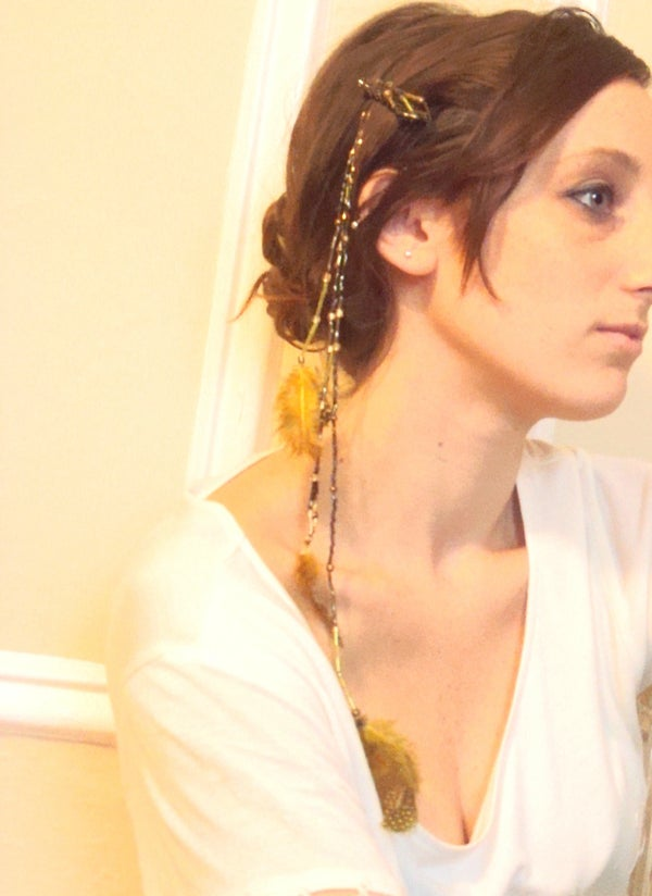 Bead and Feather Strand Hairclip