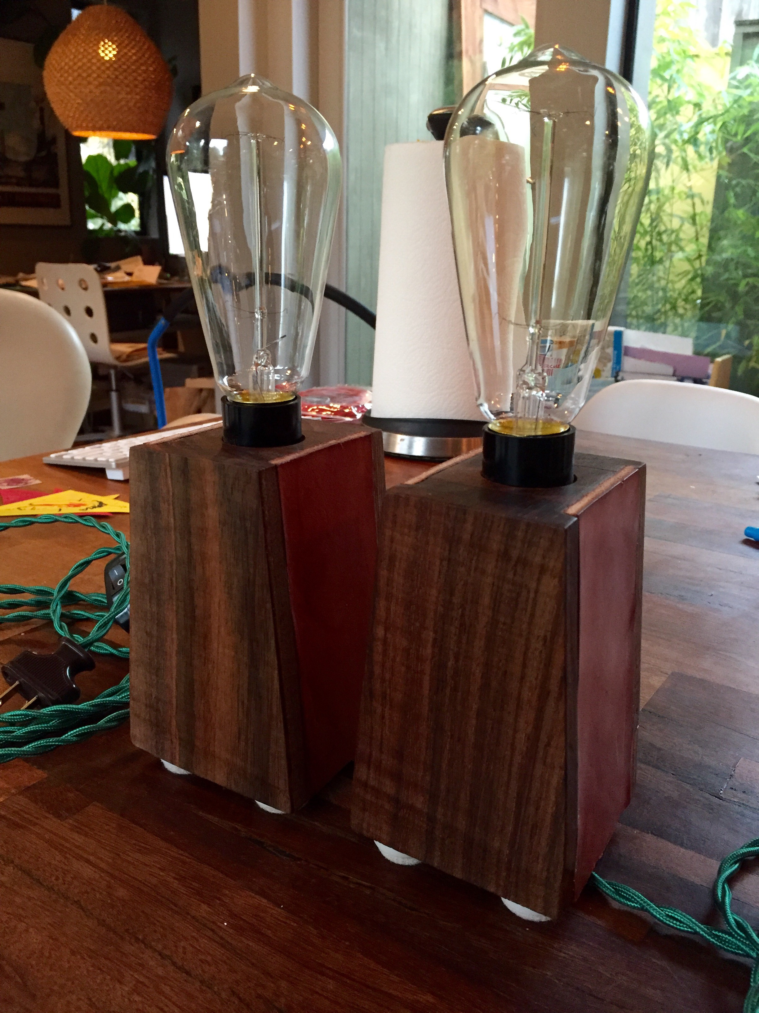 Walnut Side Table Lamps