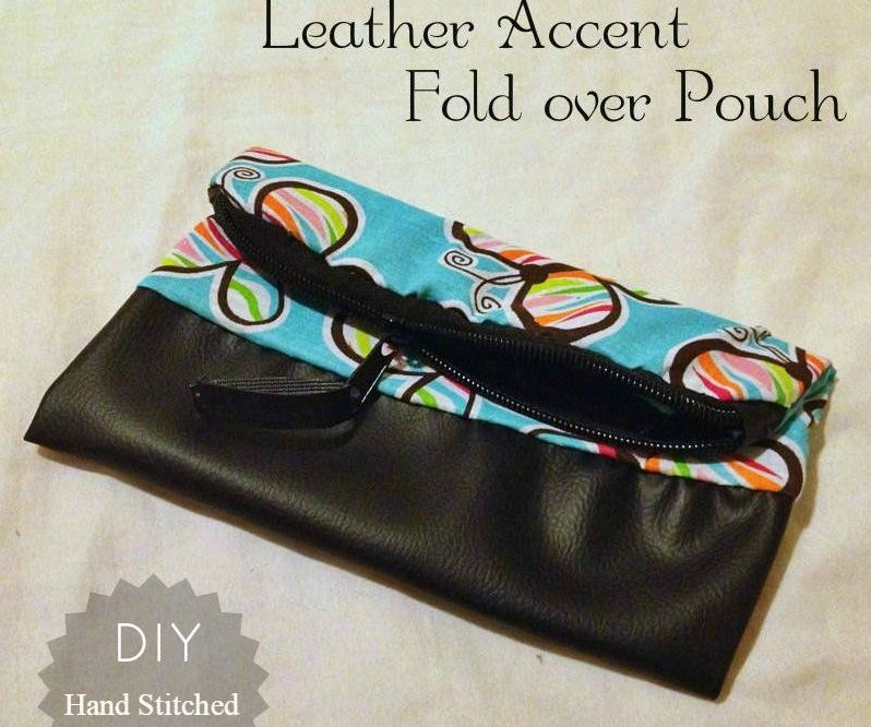 DIY: Leather Accent Fold over Pouch - Hand Stitched method