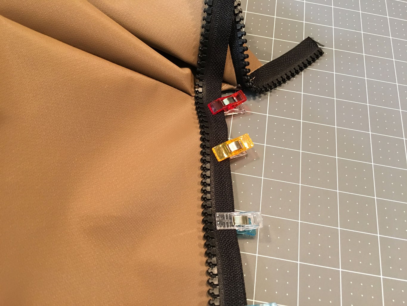 Sewing the Bottom Teeth of the Zipper to the Bag: