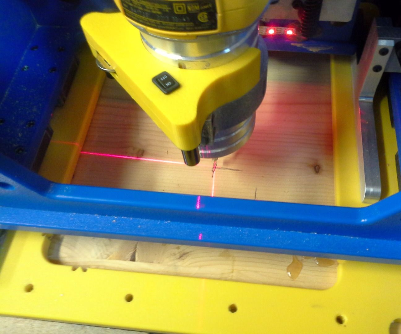 Using alternate zero and alignment lasers with the handibot
