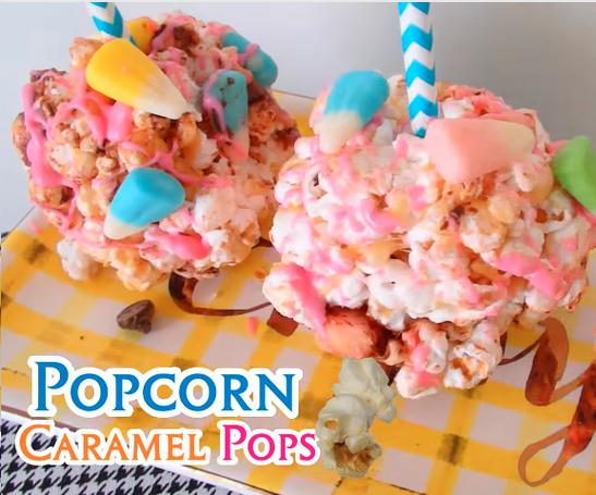 Spring Popcorn Caramel Pops