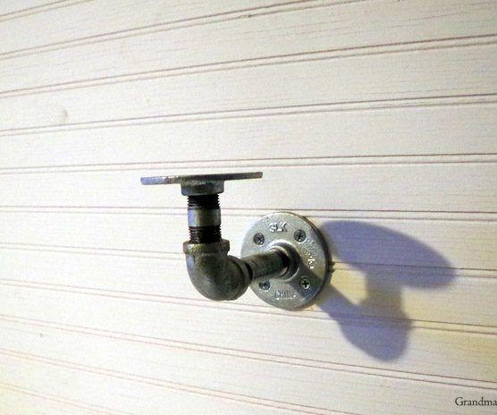 Shelf in My Master Bathroom Using Galvanized Pipe Hardware!