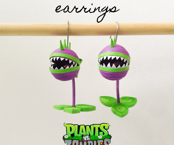 Paper Quilled Earrings   Plants Vs Zombies