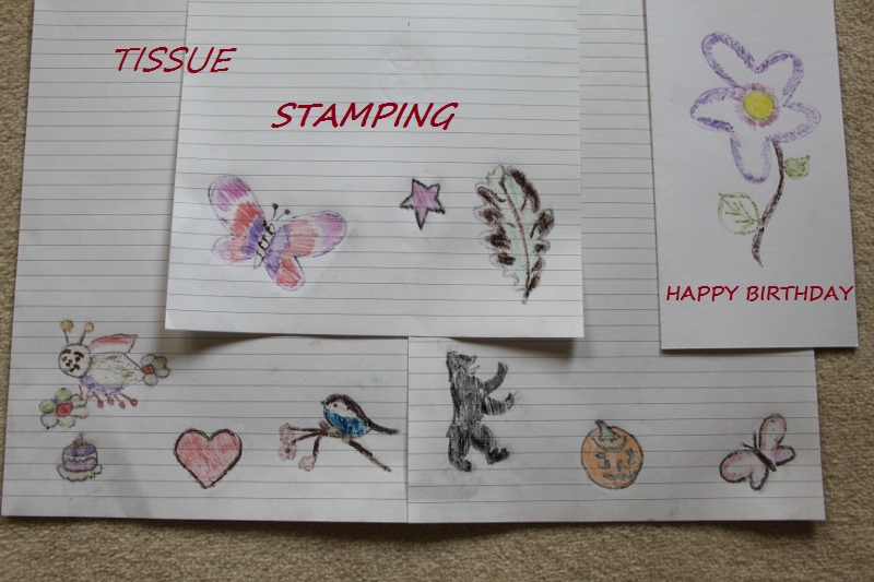 Tissue Stamping to decorate your writting Papers