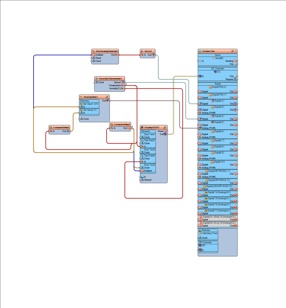 In Visuino Connect Components