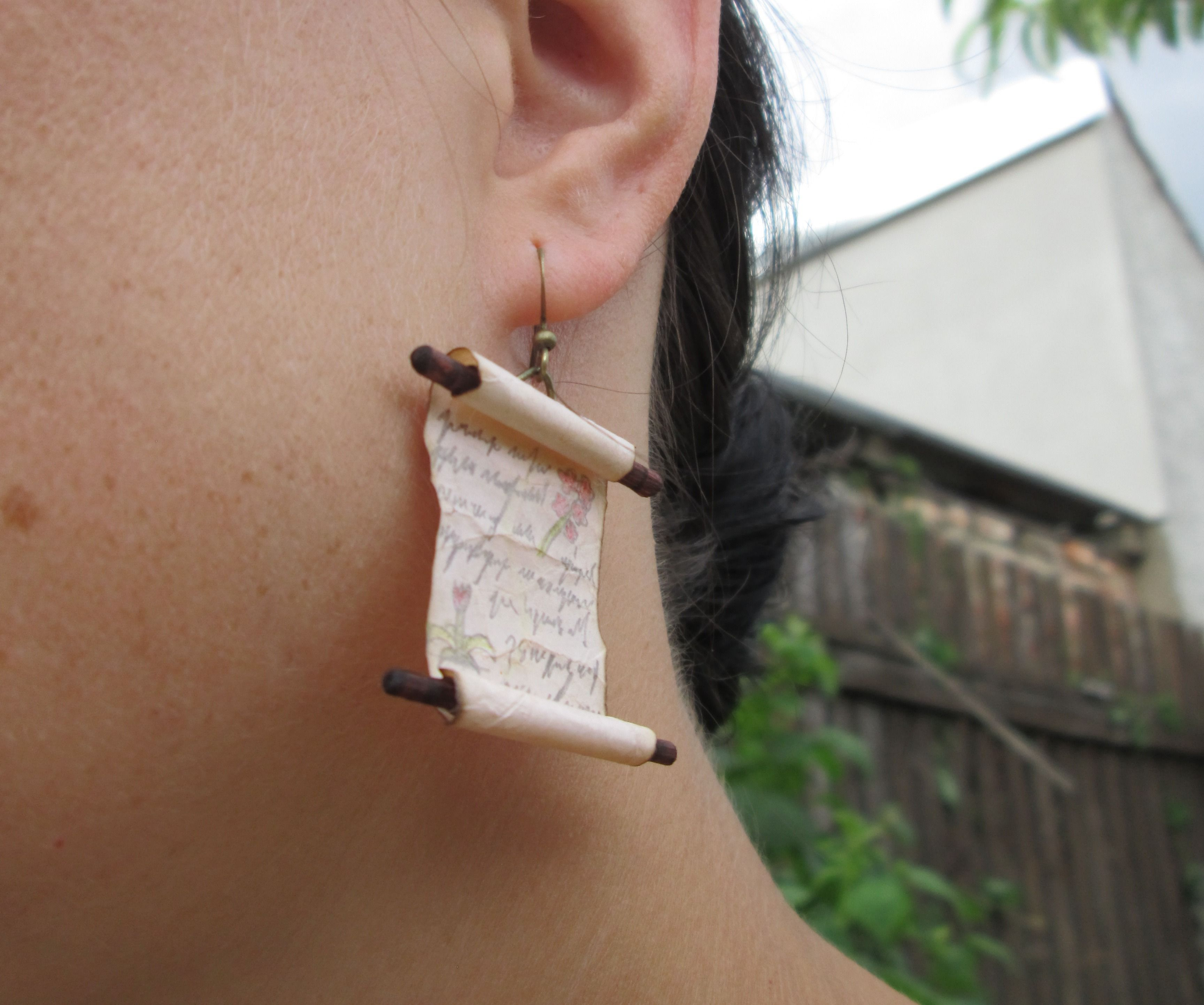 Spell Scroll Earrings with Hidden Messages