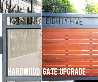 Gate Upgrade With Hardwood Slats and Cut-out House Numbers