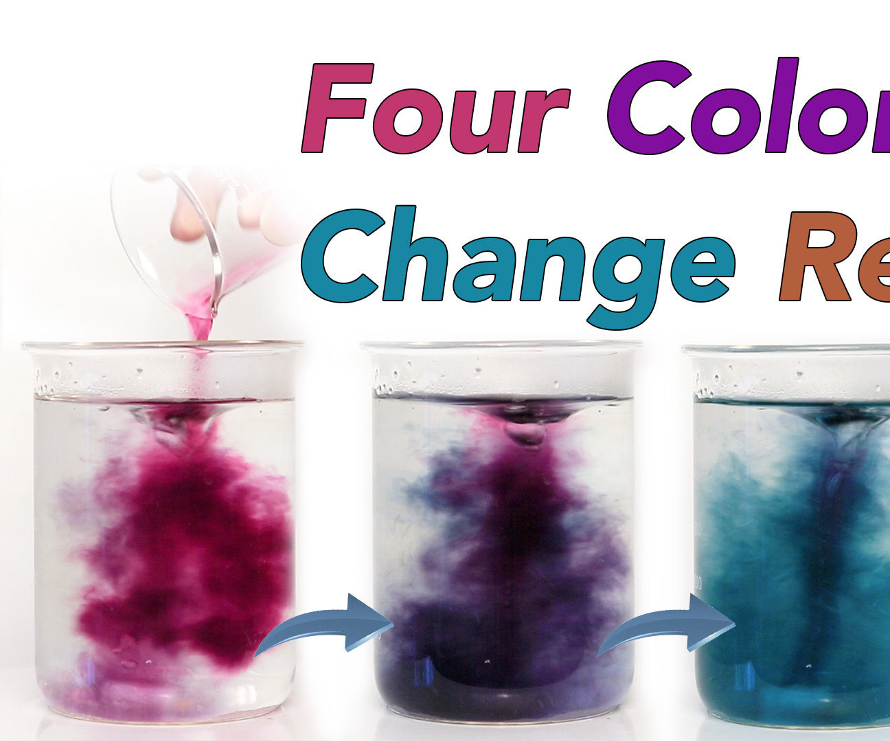 Chameleon chemical reaction - beautiful four steps colour change
