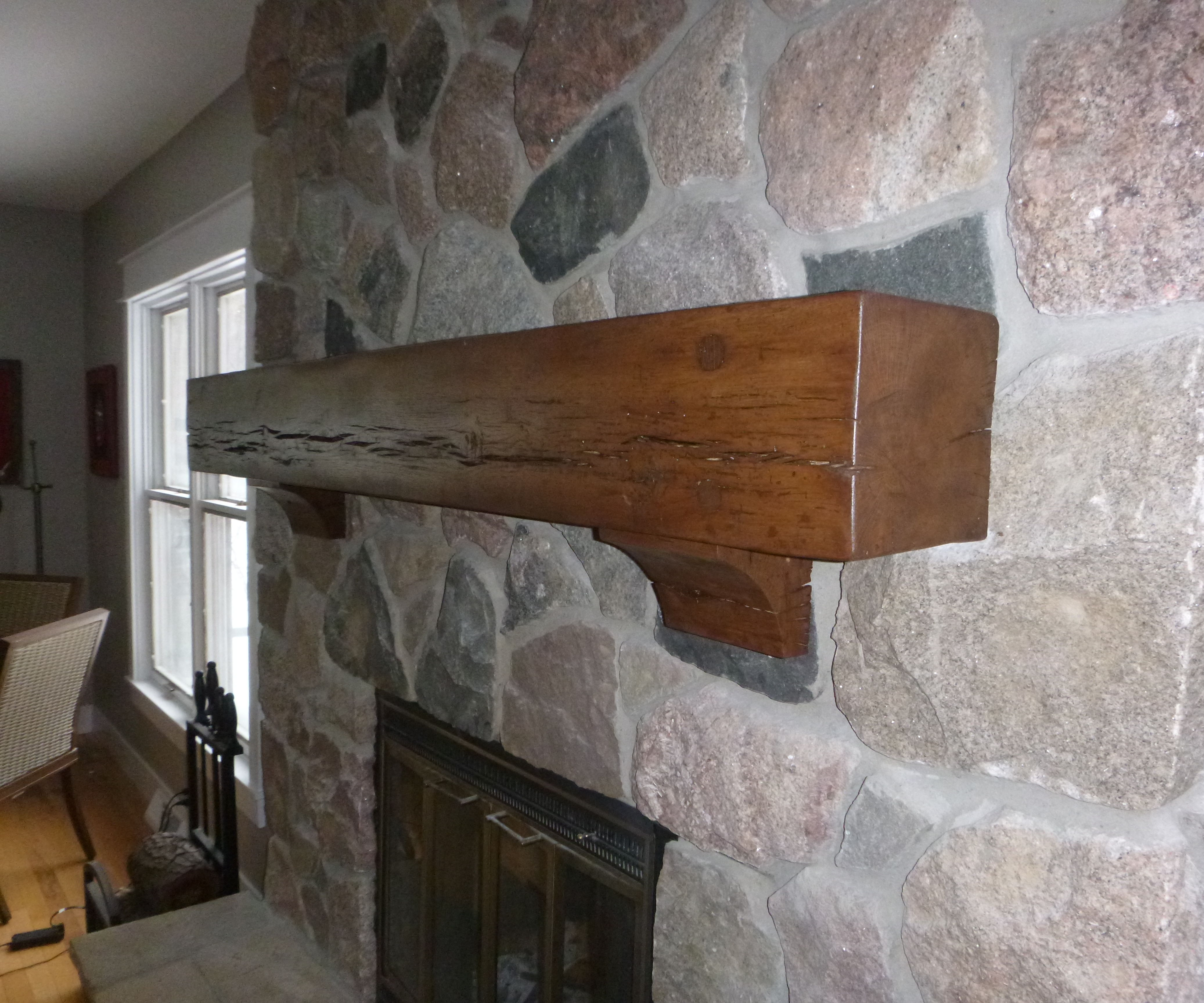 Rustic Beam Mantel and Corbels
