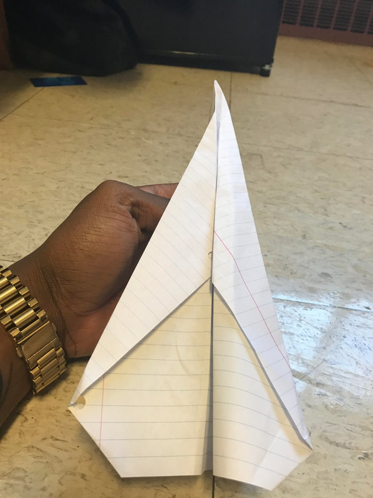 Take Both Wings and Fold Them Together Partially. While Doing This, Pull Down Each Side Until It Creates a Crease in the Center.