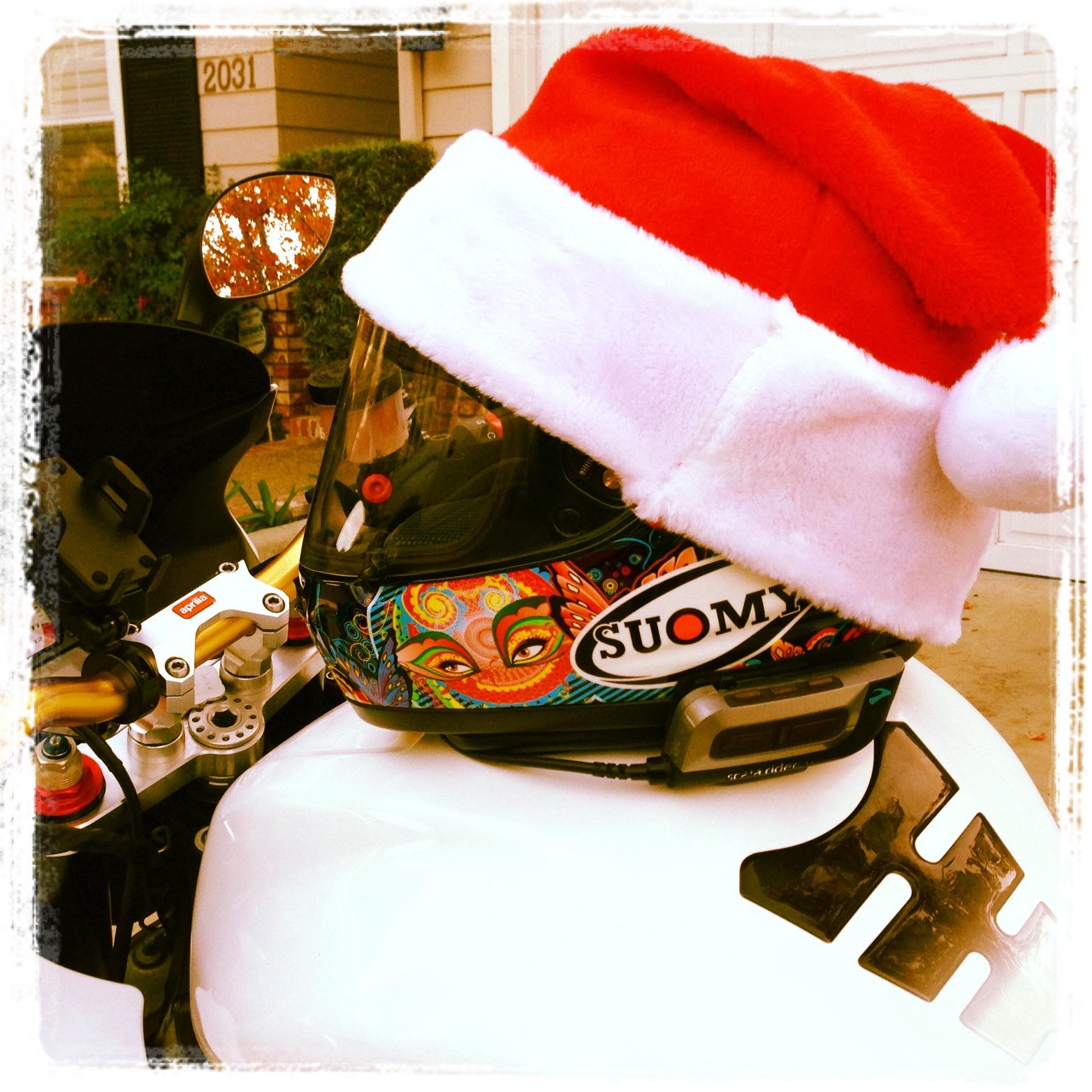 Motorcycle Helmet Santa Hat