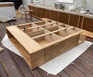 红色橡木木材底板抽屉,书架和侧桌