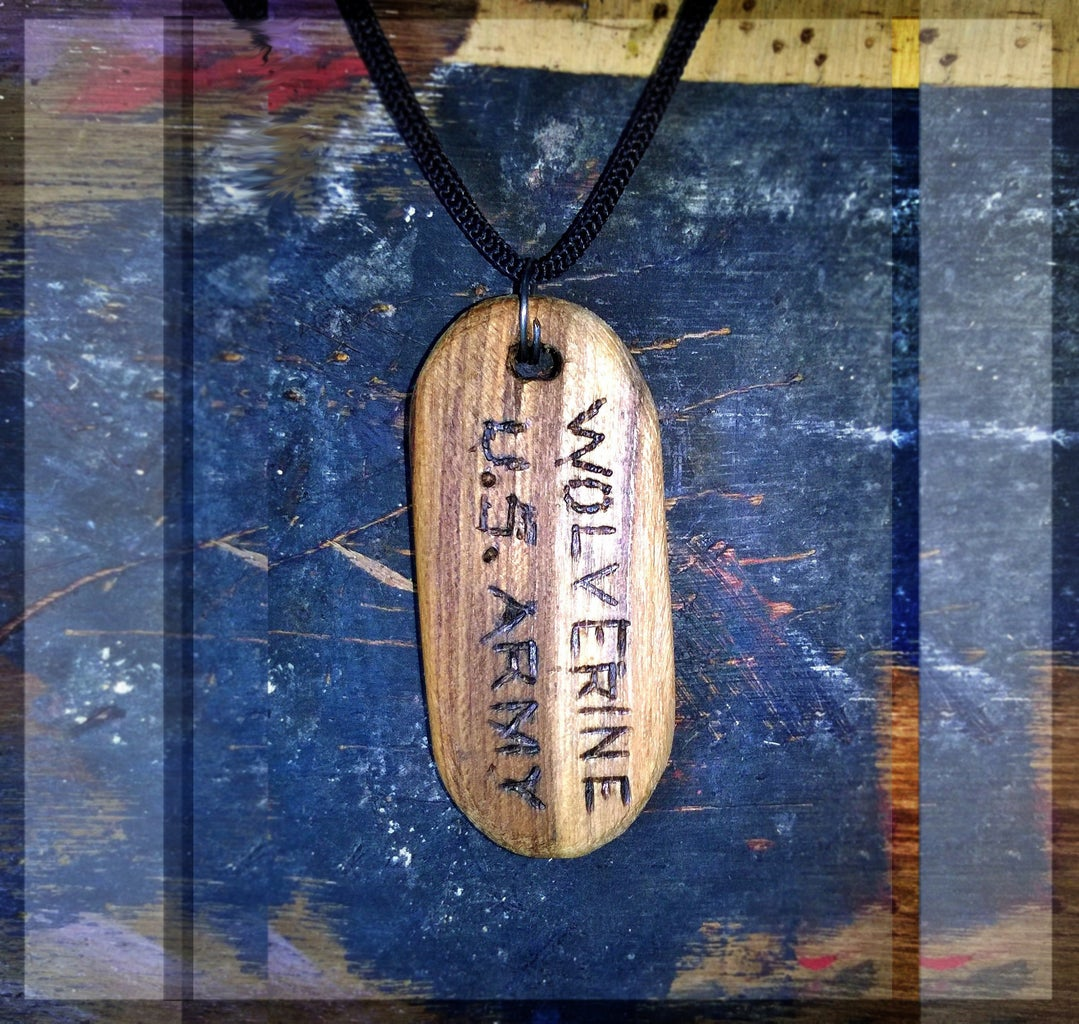 Wooden Wolverine DogTag