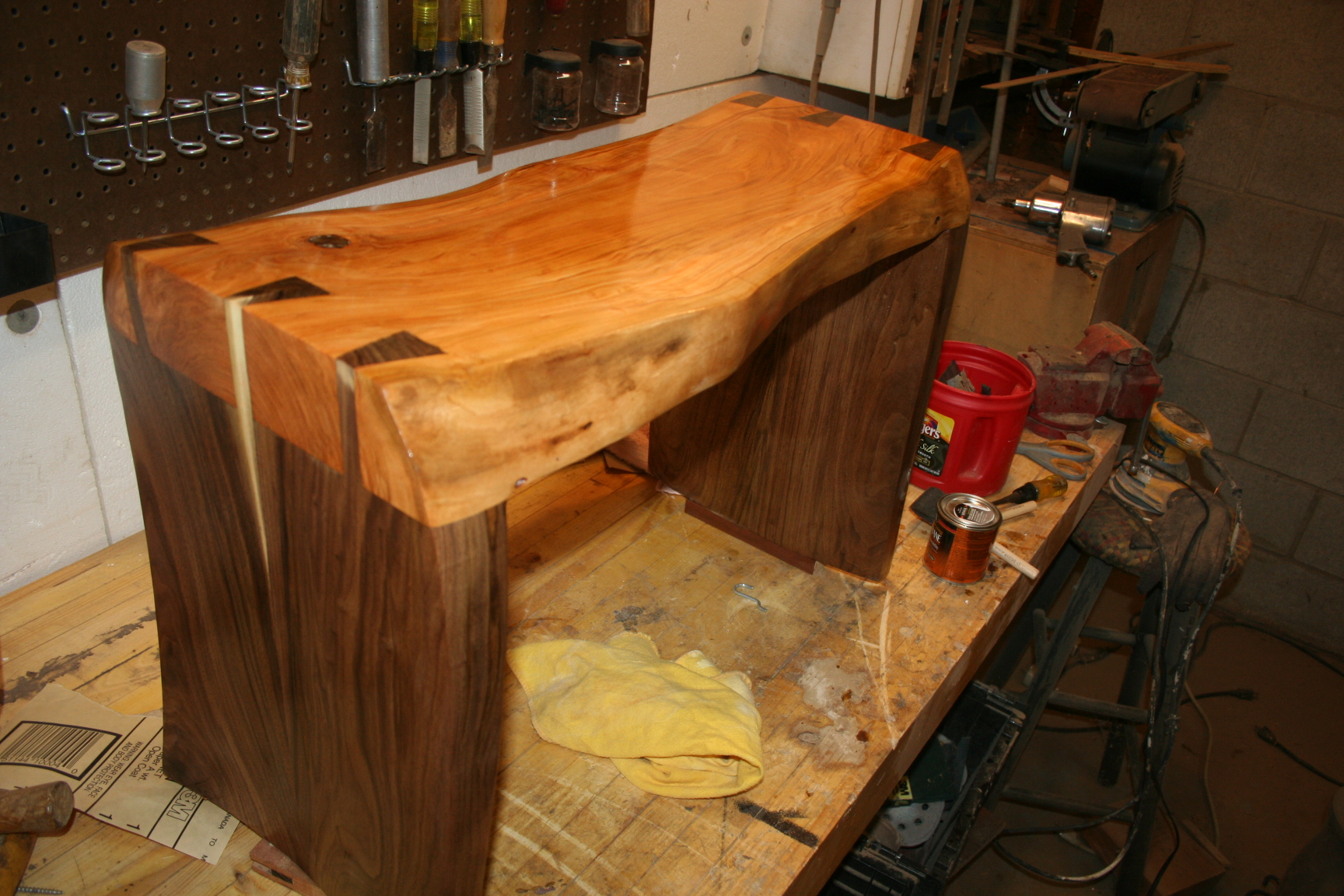 Cherry and walnut sculpted bench