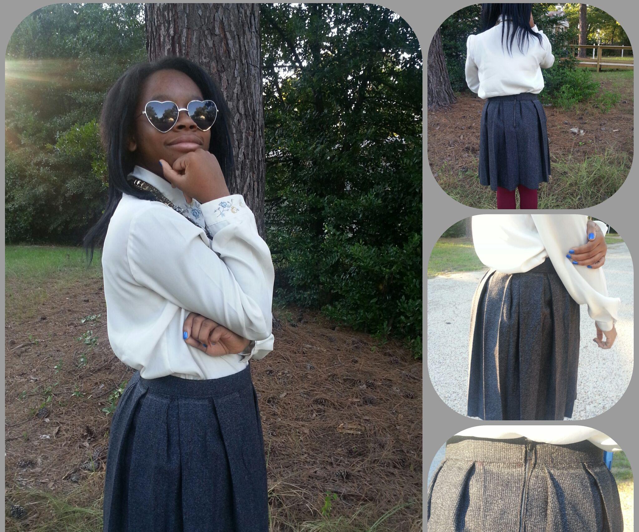 High Waisted Gray Box Pleated Skirt