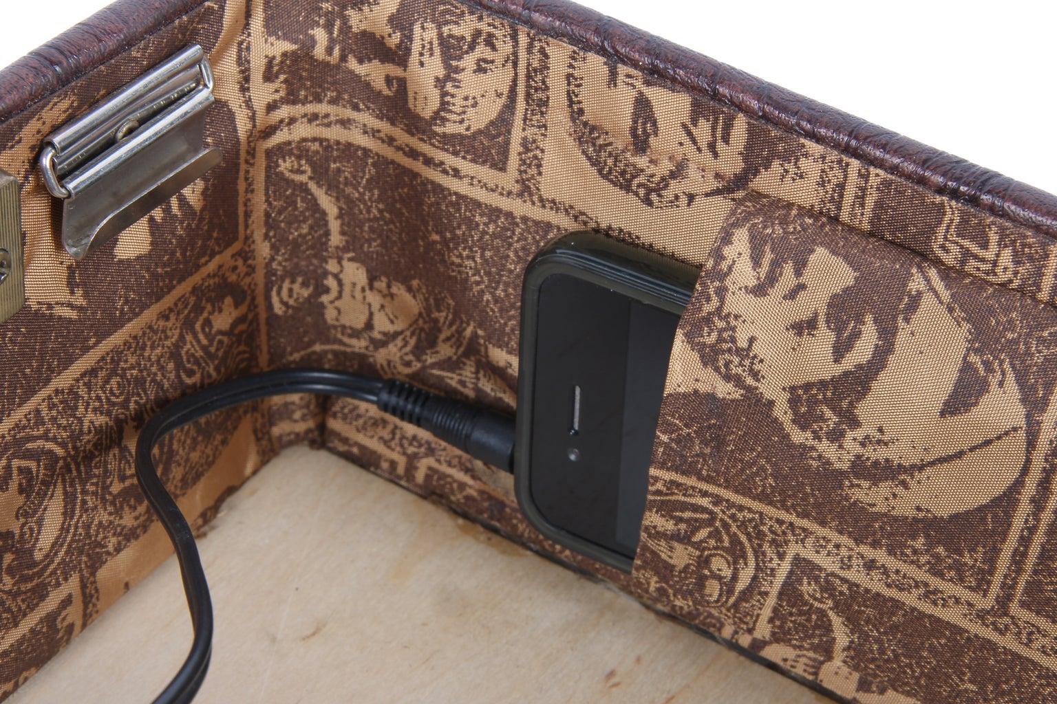 Create IPod/phone Mount on Inside of Suitcase