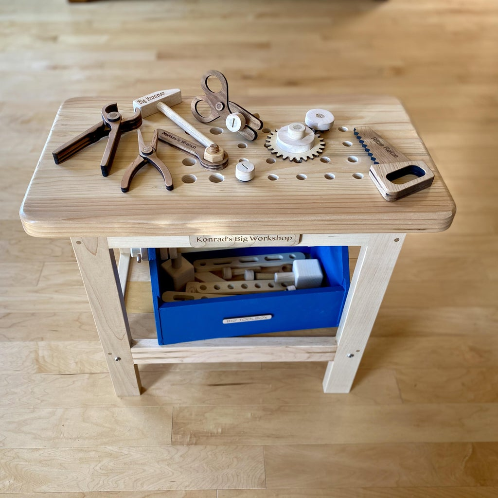 Toy Workbench With Lots of Wooden Tools