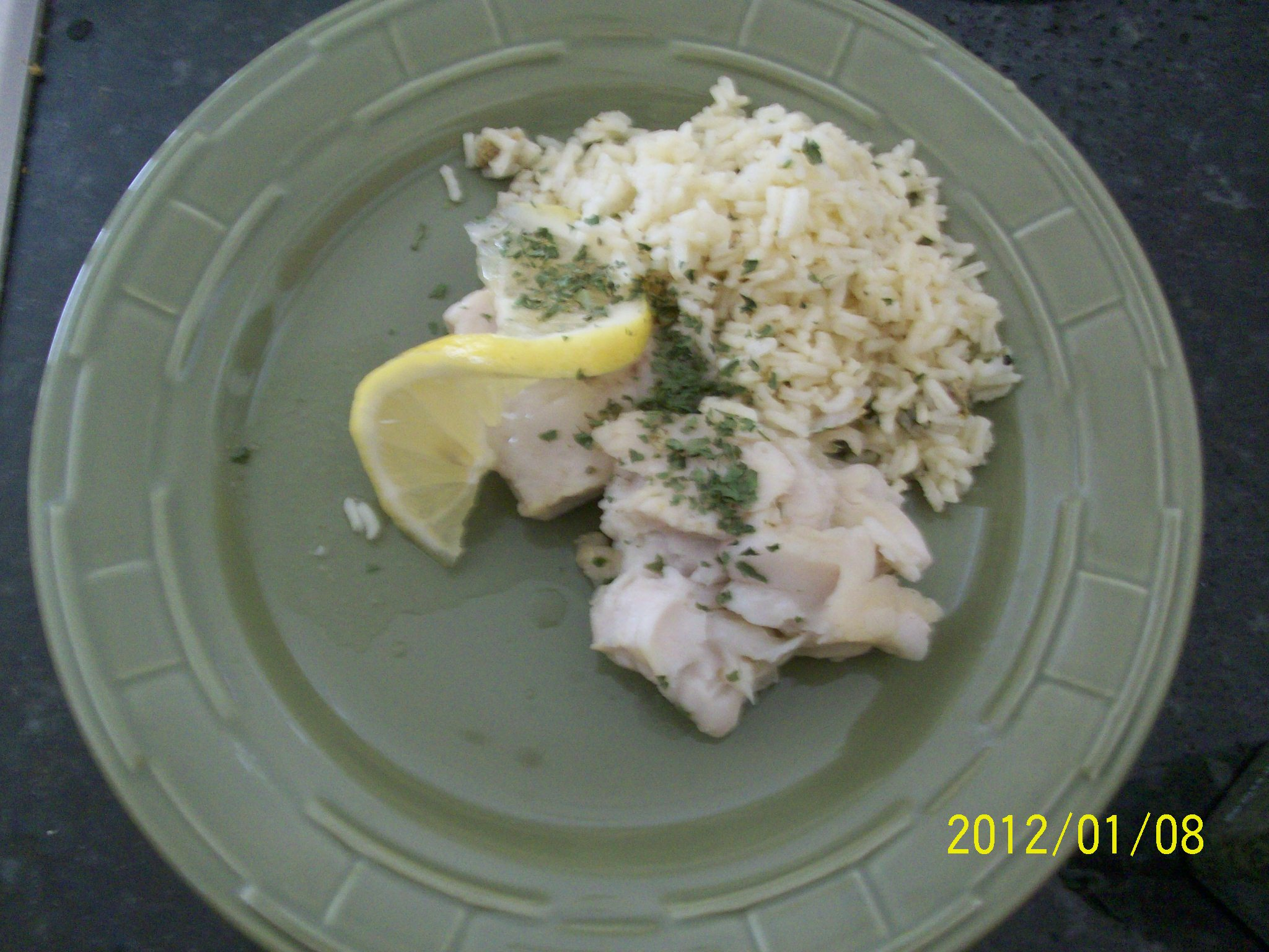 Gourmet Dishwasher Fish and Rice Dinner