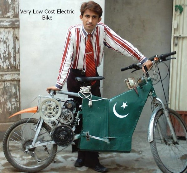 Poor Man's Electric Bike Made by Recycled Materials From Junkyards.