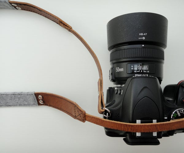 Leather and Wool Camera Strap